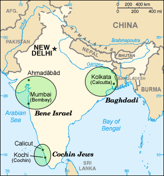 A map showing the main areas of Jewish concentration in India.
